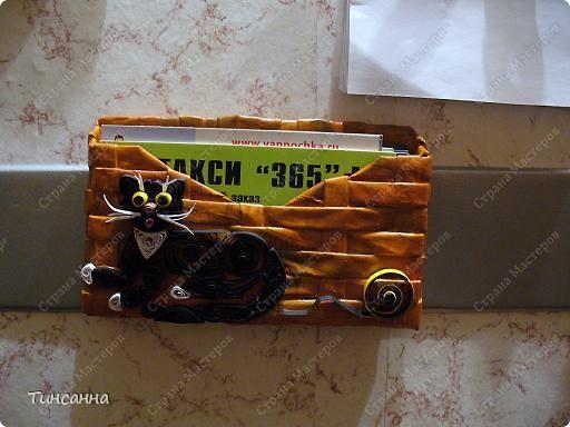 Моя квиллинговая киска украшает карманчик-визитницу. фото 3
