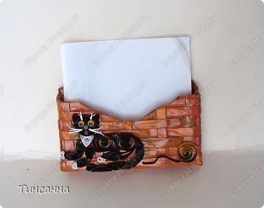 Моя квиллинговая киска украшает карманчик-визитницу. фото 2