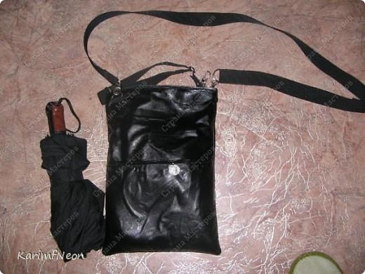 Мой рюкзак. Шить очень просто. Форма рюкзака делается всего в 4-е шва. Внутри два кармана на молнии. Впереди карман на молнии и просто карман. На верху пробил несколько люверсов и протянул жгутик - затяжку.  фото 4