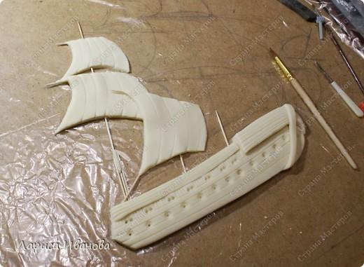 Я делала уже такой корабль около года назад. Размер работы 60х50 см. Сейчас покажу, как я его лепила и расписывала))) фото 7