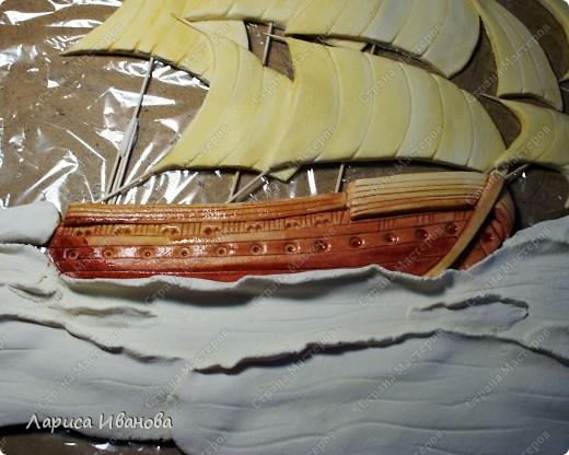 Я делала уже такой корабль около года назад. Размер работы 60х50 см. Сейчас покажу, как я его лепила и расписывала))) фото 29