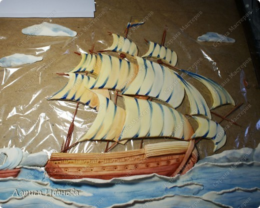 Я делала уже такой корабль около года назад. Размер работы 60х50 см. Сейчас покажу, как я его лепила и расписывала))) фото 36