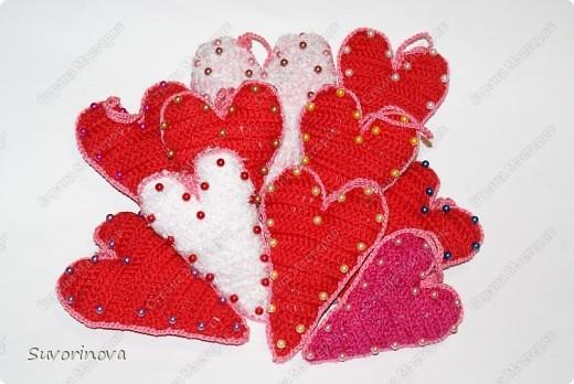 Валентинки вязаные  фото 1