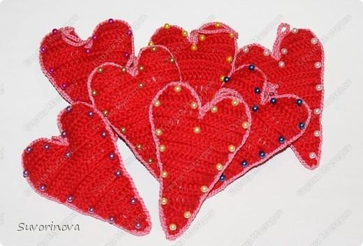 Валентинки вязаные  фото 3