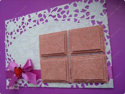 Сегодня вот такая открытка-с шоколадкой. Очень запала в душу шоколадка, которую показывала ГОЛУБКА. Большое её спасибо. Фон- салфетка, накленная на картон. фото 2