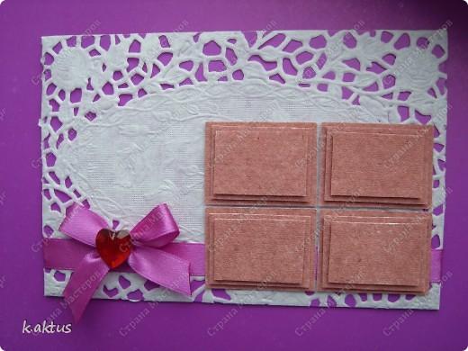Сегодня вот такая открытка-с шоколадкой. Очень запала в душу шоколадка, которую показывала ГОЛУБКА. Большое её спасибо. Фон- салфетка, накленная на картон. фото 1