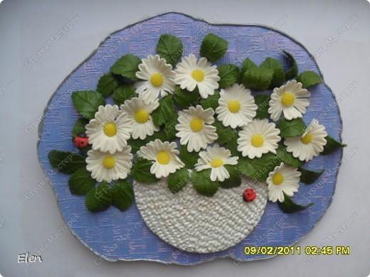 панно из гипса,ромашки и листочки холодный фарфор,корзинка соленое тесто фото 1