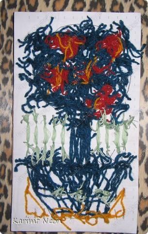 Снова поделки дочки моей подруги (5 лет). Вся картина выполнена нитками, НО КЛЕЙ И РАЗНЫЕ ИГЛЫ МЫ НЕ ИСПОЛЬЗОВАЛИ. фото 1