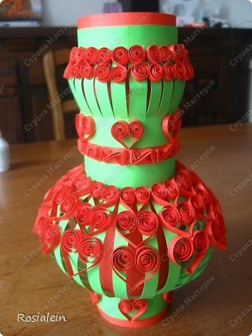 Вазочка для бумажных цветов. Цветы в процессе...:)) фото 1
