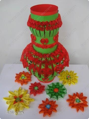 Вазочка для бумажных цветов. Цветы в процессе...:)) фото 4
