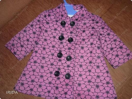 1. Плащ. Из этой ткани сначала планировала сшить костюмчик на весну-осень.В итоге получился вот такой плащ на подкладке. фото 1