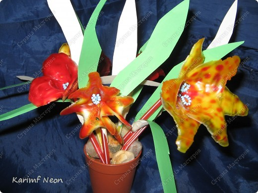 МОЁ ИЗОБРЕТЕНИЕ. Цветы из клея ПВА. 16 февраля 2011 года.  фото 9