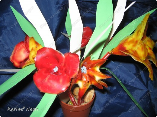 МОЁ ИЗОБРЕТЕНИЕ. Цветы из клея ПВА. 16 февраля 2011 года.  фото 12