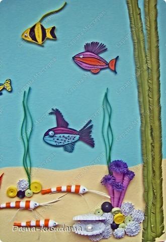 Вдохновила меня на создание моего аквариума работа Ольги Ольшак http://stranamasterov.ru/node/88592?c=favorite, за что ей очень благодарна.Работа получилась яркая, и очень нравится моей дочке, я и делала- то для нее.         Но в моей работе несколько новых персонажей, поэтому решила рассказать как я их делала.  фото 4
