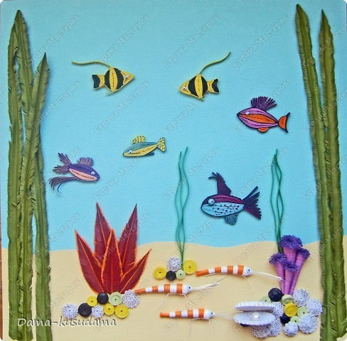 Вдохновила меня на создание моего аквариума работа Ольги Ольшак http://stranamasterov.ru/node/88592?c=favorite, за что ей очень благодарна.Работа получилась яркая, и очень нравится моей дочке, я и делала- то для нее.         Но в моей работе несколько новых персонажей, поэтому решила рассказать как я их делала.  фото 1