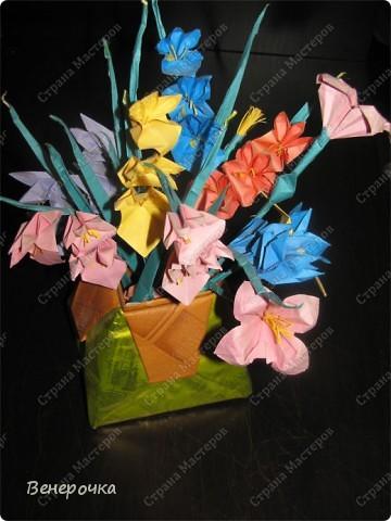 Эту вазу с цветами в подарок папе на 23 февраля, мы сделали вместе с сыном когда ему было года три! Конечно он тогда просто складывал квадратики по  линиям так, как я ему показывала, но я думаю именно это вызвало его интерес к оригами! Сейчас ему 11 и он иногда что нибудь творит! Когда будет время выложу его работы! фото 2