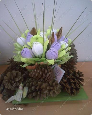 """Вот такой подарок я приготовила своей подруге ко дню рождения. Расцвели у меня дома """"сладкие"""" цветочки. Маленькая фейка караулит их,чтоб никто не съел.  фото 2"""