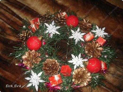 Новогодняя икебана-венок на двери фото 2