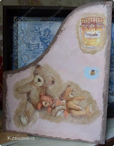 Вот такая подставочка получилась , использовала декупажную карту с мишками фото 2