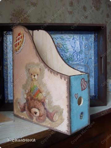 Вот такая подставочка получилась , использовала декупажную карту с мишками фото 3