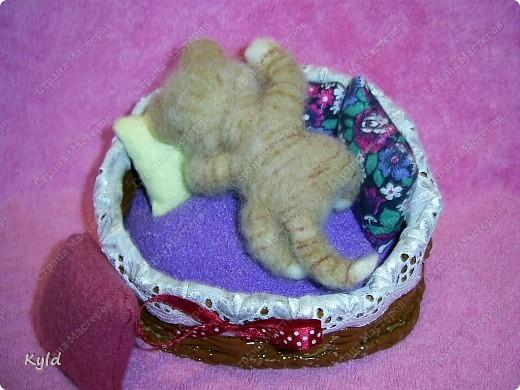 Появился у меня дома вот такой вот маленький соня))) Он все время спит, поэтому я сделала для него корзинку и тюфячок, и подушек побольше, чтобы он видел только самые мягкие и сладкие сны)) фото 3