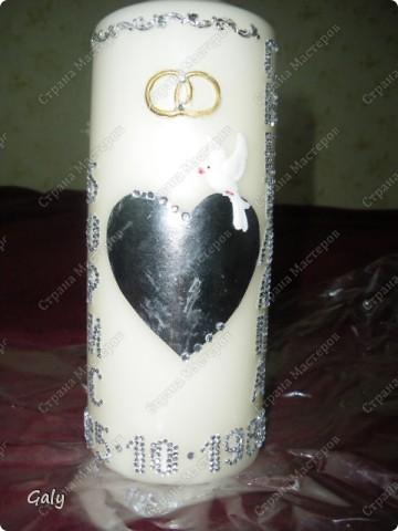 Вдохновленная прекрасными работами Irusch я решила сделать на серебрянный юбилей брату и его жене памятную свечу... фото 3