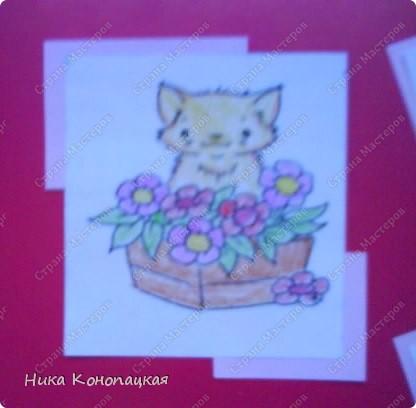 Сделала открытку с котиками для любимой мамочки (извините за качество, фотографии с телефона) фото 2