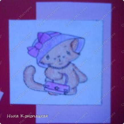 Сделала открытку с котиками для любимой мамочки (извините за качество, фотографии с телефона) фото 3