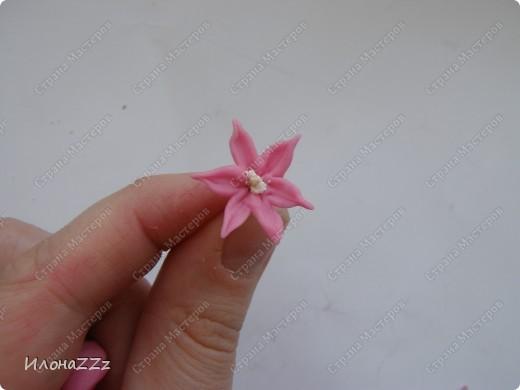 Этот МК для новичков в холодом фарфоре. Для тех, кто слепил первые розы и, окрыленый успехом, думает, на что еще замахнуться. Гиацтнт состоит из маленьких цветочков. Отличная практика. Первые цветочк выходят кривеньке да косенькие, но с каждым новым мастерство растет, а под конец легкость в пальцах появляется необыкновенная. фото 9