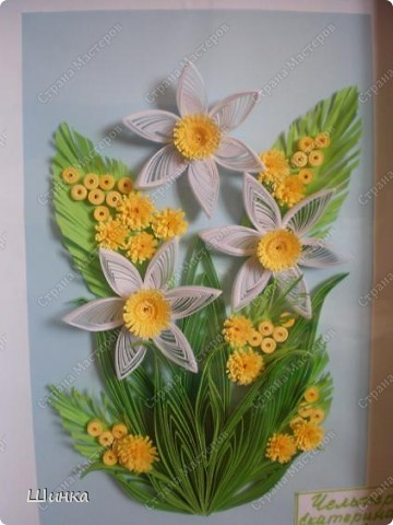 """Вот такую картину мы с дочкой сделали на конкурс """"Первоцветы"""". Спасибо за идею Ольге Ольшак. фото 2"""