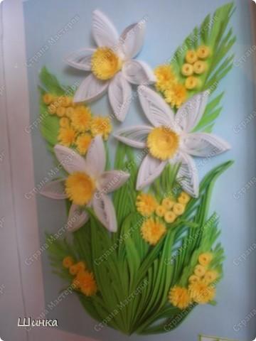 """Вот такую картину мы с дочкой сделали на конкурс """"Первоцветы"""". Спасибо за идею Ольге Ольшак. фото 3"""
