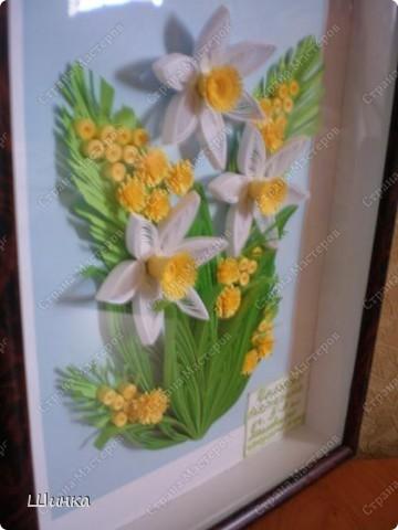 """Вот такую картину мы с дочкой сделали на конкурс """"Первоцветы"""". Спасибо за идею Ольге Ольшак. фото 4"""