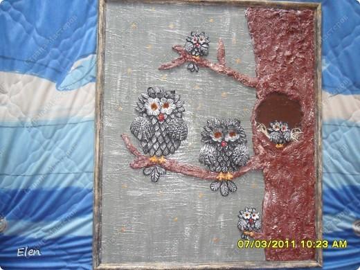 Мама заказала на 8  МАРТА картину с совами,ну очень любит этих птичек,ну вроде бы осталась довольной,так как теперь еще хочет две длинные картинки по краям,думаю что история с совами еще будет продолжена фото 1