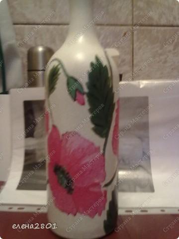 Мой первый декупаж бутылки фото 1