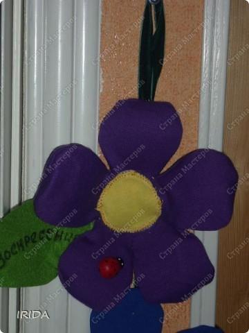 """Вот такой необычный цветок я сделала для своей дочки. Теперь мы каждое утро перед садиком пересаживаем фею-бабочку на новый цветочек. Изучаем и дни недели, и цвета радуги. Эту идею я взяла из журнала """"мой ребенок"""" и немного переделала. Вместо липучек сделала на магнитах. фото 18"""