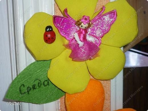 """Вот такой необычный цветок я сделала для своей дочки. Теперь мы каждое утро перед садиком пересаживаем фею-бабочку на новый цветочек. Изучаем и дни недели, и цвета радуги. Эту идею я взяла из журнала """"мой ребенок"""" и немного переделала. Вместо липучек сделала на магнитах. фото 2"""