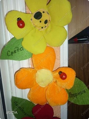 """Вот такой необычный цветок я сделала для своей дочки. Теперь мы каждое утро перед садиком пересаживаем фею-бабочку на новый цветочек. Изучаем и дни недели, и цвета радуги. Эту идею я взяла из журнала """"мой ребенок"""" и немного переделала. Вместо липучек сделала на магнитах. фото 21"""