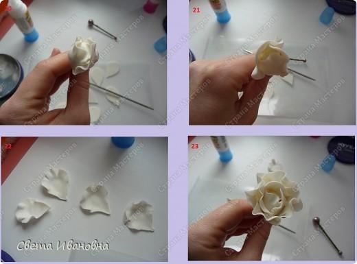 1. Материалы и инструменты: - холодный фарфор белого цвета - клей - крем -проволока - стек - бульки - каттер - половинка папки-уголок. 2. Заготовка для распустившегося цветка, заранее высушенная. 3. Заготовка для полураспустившегося бутона (на фото лежит ближе к спичечному коробку). фото 6