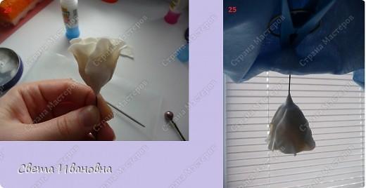 1. Материалы и инструменты: - холодный фарфор белого цвета - клей - крем -проволока - стек - бульки - каттер - половинка папки-уголок. 2. Заготовка для распустившегося цветка, заранее высушенная. 3. Заготовка для полураспустившегося бутона (на фото лежит ближе к спичечному коробку). фото 7