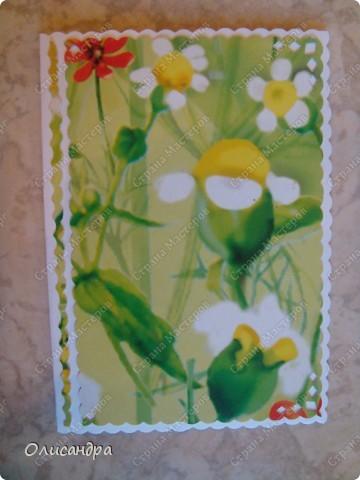 """Ах, какие красивые открыточки здесь делают...Смотрю и любуюсь, как в музее...   А у меня из серии """"Примитивизм""""... Фантазии не хватает..., но так захотелось поучаствовать в игре... Правда, удалось только с пятой попытки... Не хотела """"сдаваться"""" весна... фото 2"""