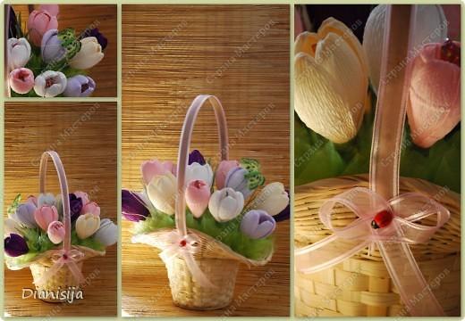 Корзинка тюльпанов и нарциссов :) Подарила свекрови :) фото 2