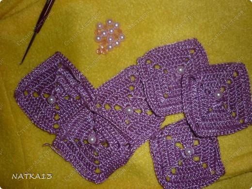 насмотревшись на работы других мастериц решила тоже ввести бусины при вязании  и при сшивании квадратов фото 2