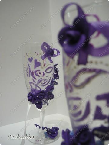 """Бокалы-""""неразлучники"""":))) на каждом сделана потайная петелька для ленты:))) фото 7"""