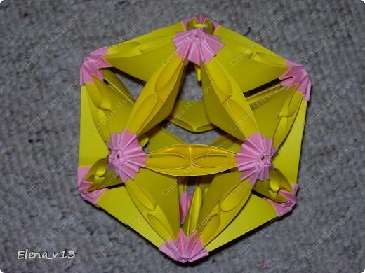 Первая цветная кусудама - очень понравилось её делать (хоть и пришлось поначалу немного голову поломать при сборке:) ) По МК Blue http://stranamasterov.ru/node/50754?c=favorite фото 2