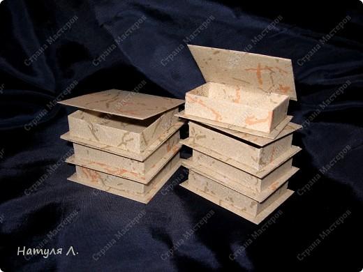 Признаюсь....коробочки делаю на работе.....очень стыдно....но есть возможность.... :о) огромное спасибо Юле  http://stranamasterov.ru/node/94427?c=favorite Только у меня весь картон обклеен дешевенькими бумажными обоями....25руб. за рулон. Каждый элемент коробочки обклеиваю, потом собираю.   размер 10*10 фото 3