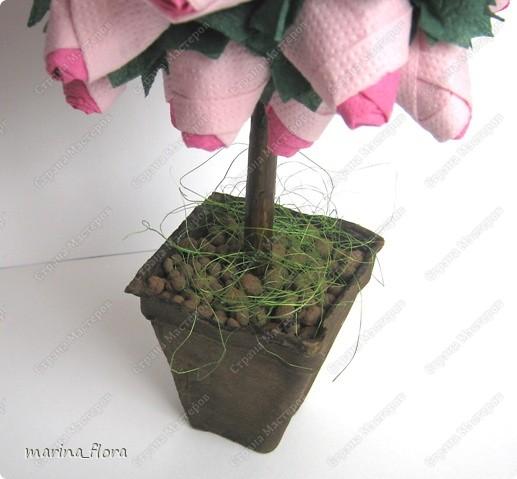 Розу называют королевой сада. Это на самом деле так, и лучше не скажешь — как бы ни хотелось избежать штампов и банальных фраз. Можно любить ромашки и васильки, лилии или орхидеи, но, увидев розу, сдержать восхищение невозможно. Она как истинная королева покоряет своим великолепием и в то же время выглядит удивительно нежно и чувственно. Поэтому давайте будем откровенно восхищаться этой роскошной красавицей — неожиданной, многоликой и всегда невыразимо прекрасной.  Розовый куст (двухцветный). Моделирование из бумажных салфеток. Высота - 30 см.   фото 3