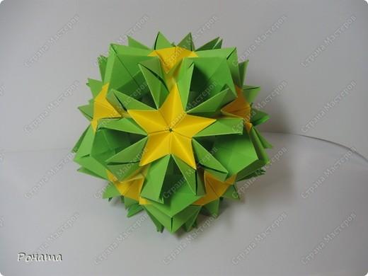 """Огромное спасибо всем Мастерам этой Чудесной Страны за вдохновение! Благодарю Амелию за МК цветочка для подвеса (http://stranamasterov.ru/node/49829)! Спасибо всем, кто """"сподвиг"""" меня на создание мастер-класса http://stranamasterov.ru/node/166225 ! Пока крутила ту кусудамку, мелькнула мысль немного лишить ее геометрии. Благодарю Томоко Фусе за основу! Представляю свое творение - кусудаму """"Нежная весна"""". Встречайте! фото 9"""