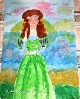 """В один день мне очень захотелось что-нибудь нарисовать. Воображение нарисовало такую картину: рассвет, берег озера, на берегу девушка. Вот я и нарисовала рисунок """"Девушка на берегу"""" Нарисовала на акварельной бумаге размера А3 акварелью. фото 1"""