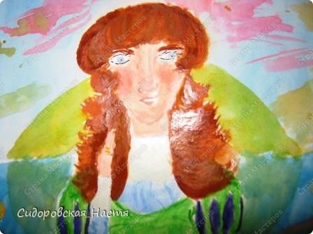 """В один день мне очень захотелось что-нибудь нарисовать. Воображение нарисовало такую картину: рассвет, берег озера, на берегу девушка. Вот я и нарисовала рисунок """"Девушка на берегу"""" Нарисовала на акварельной бумаге размера А3 акварелью. фото 2"""