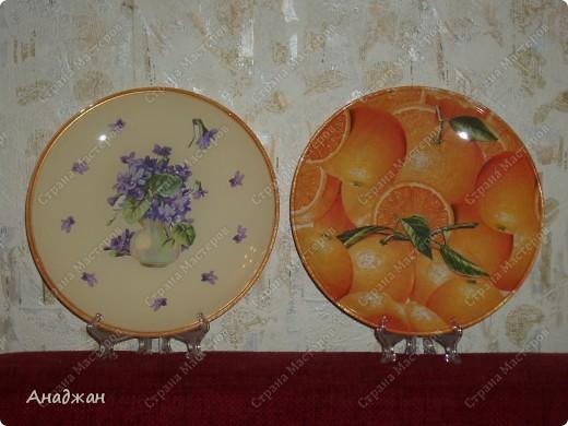 Все тарелочки выполнены обратным декупажем. Салфетки, акриловые краски, акриловый лак фото 4